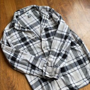 Boys Old Navy shire black check flannel